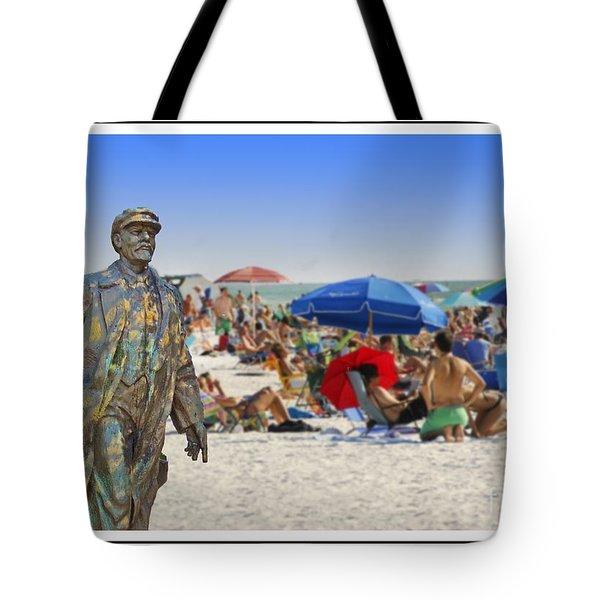 Lenin Goes To The Beach White Border Tote Bag