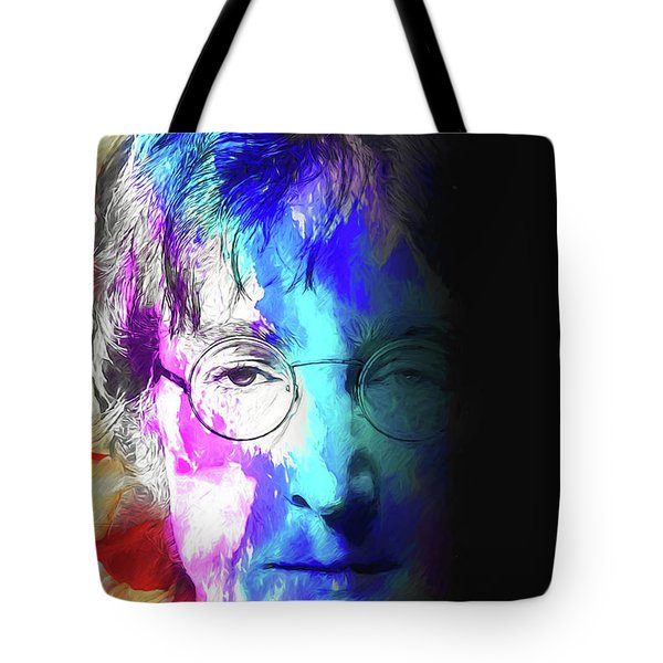 Tote Bag featuring the digital art Lennon by John Haldane