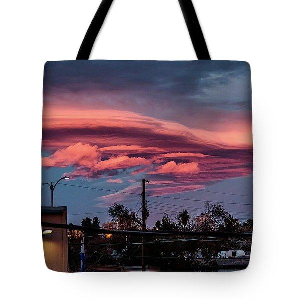 Tote Bag featuring the photograph Lenticular Cloud Las Vegas by Michael Rogers