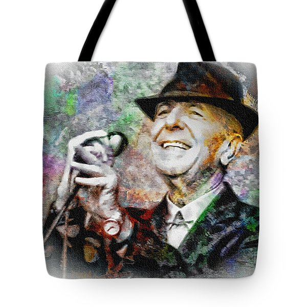 Leonard Cohen - Tribute Painting Tote Bag by Ian Gledhill