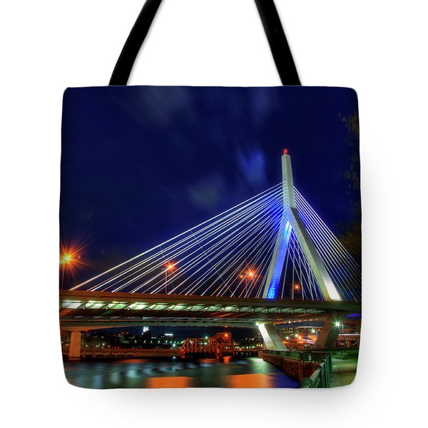 Tote Bag featuring the photograph Leonard P Zakim Bridge At Night - Boston Cityscape by Joann Vitali