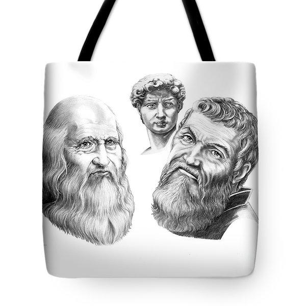 Leonardo And Michelangelo Tote Bag by Murphy Elliott