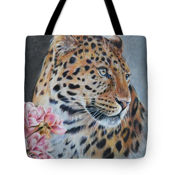 Leopard And Roses Tote Bag