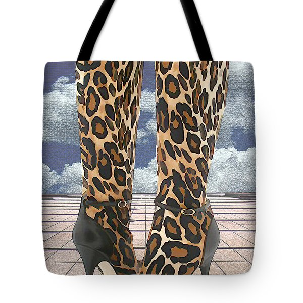 Leopard Boots With Ankle Straps Tote Bag by Elaine Plesser