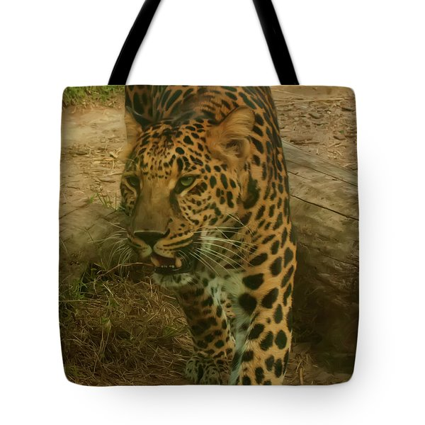 Tote Bag featuring the photograph Leopard by Chris Flees