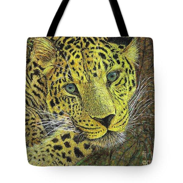Leopard Gaze Tote Bag by David Joyner