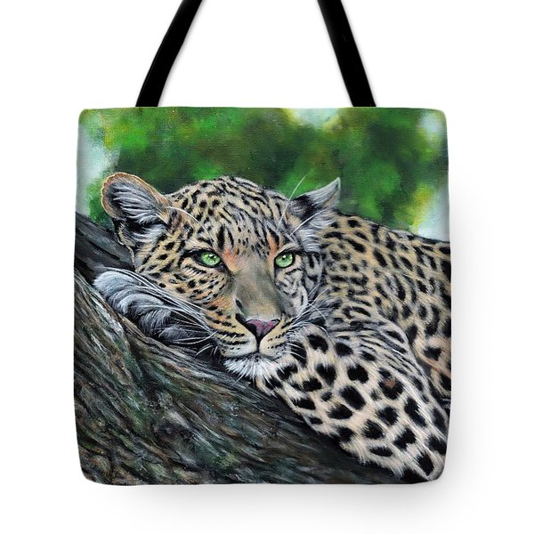 Leopard On Branch Tote Bag