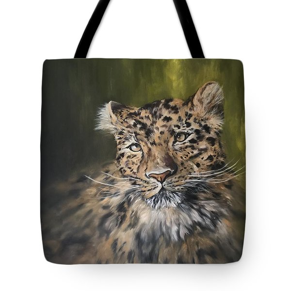 Leopard Relaxing Tote Bag by Jean Walker