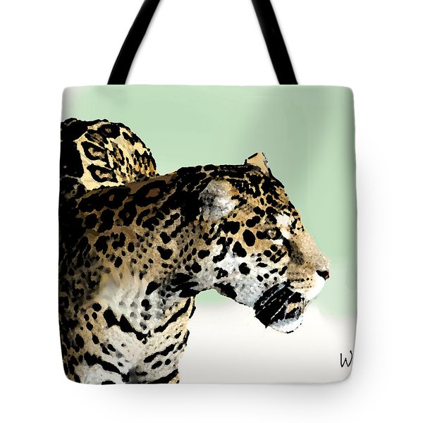 Tote Bag featuring the digital art Leopard by Walter Chamberlain