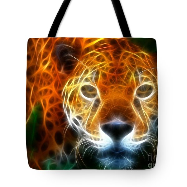 Leopard Watching At His Prey Tote Bag by Pamela Johnson