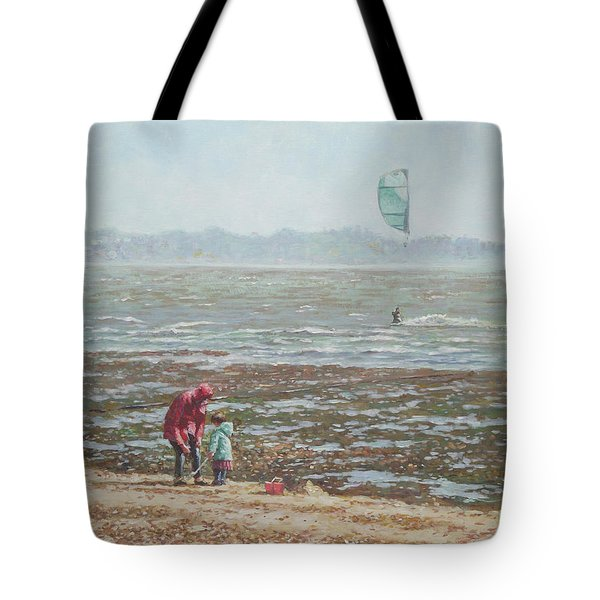 Tote Bag featuring the painting Lepe Beach Windy Winter Day by Martin Davey