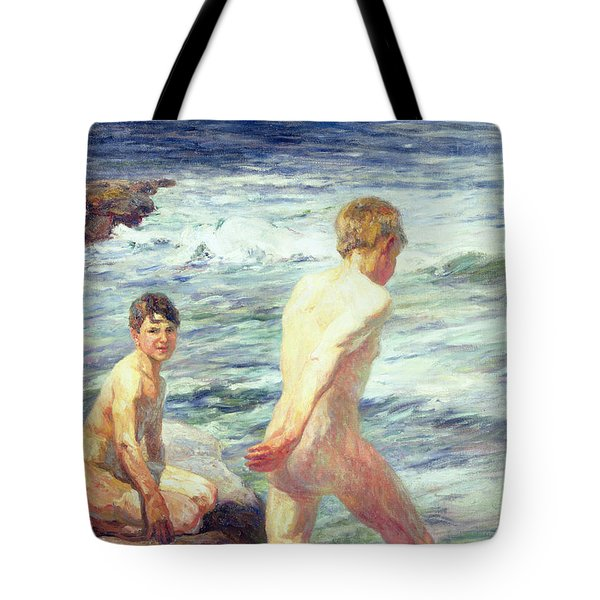 Les Baigneurs Tote Bag by Jean Delvin