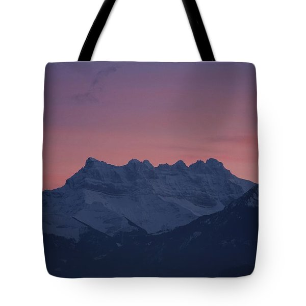 Les Dents Du Midi Tote Bag by Colleen Williams