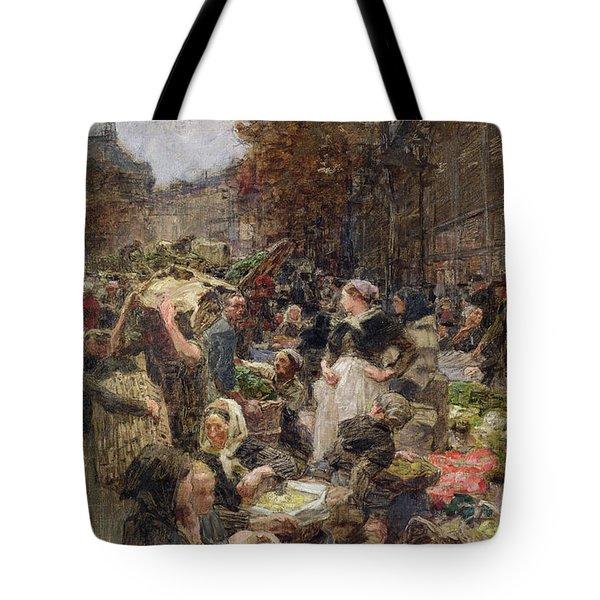 Les Halles Tote Bag by Leon Augustin Lhermitte
