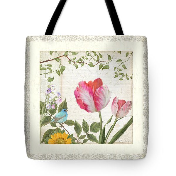 Les Magnifiques Fleurs I - Magnificent Garden Flowers Parrot Tulips N Indigo Bunting Songbird Tote Bag by Audrey Jeanne Roberts