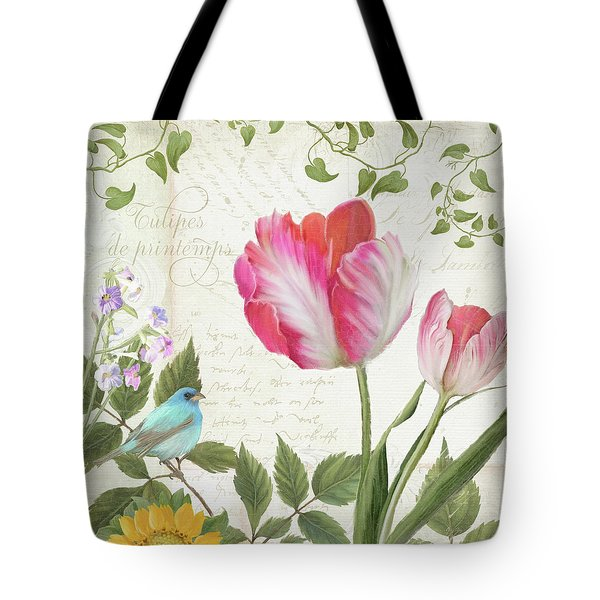 Les Magnifiques Fleurs IIi - Magnificent Garden Flowers Parrot Tulips N Indigo Bunting Songbird Tote Bag by Audrey Jeanne Roberts