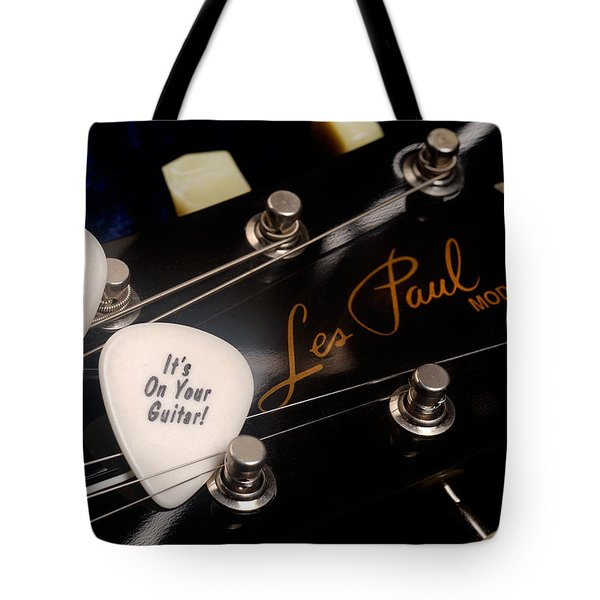 Les Paul's Guitar Pick On Gibson Headstock By Gene Martin Tote Bag