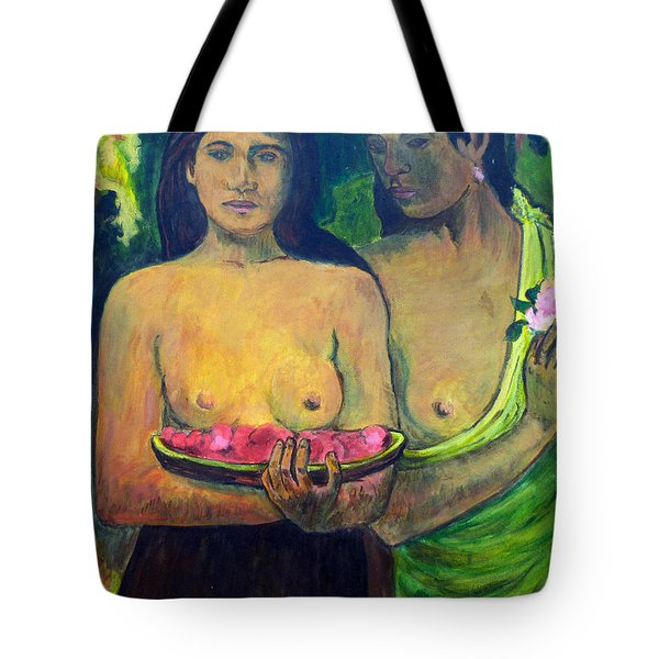 Tote Bag featuring the painting Les Seins Aux Fleurs Rouges by Tom Roderick