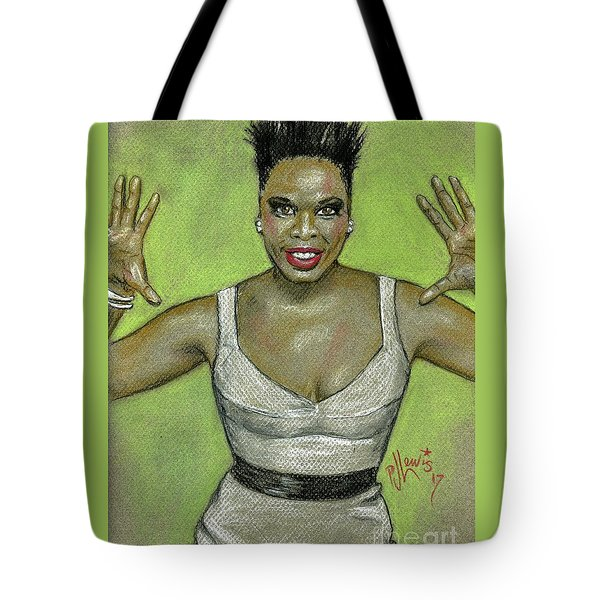 Tote Bag featuring the drawing Leslie Jones by P J Lewis