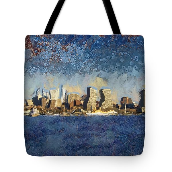 Tote Bag featuring the mixed media Less Wacky Philly Skyline by Trish Tritz