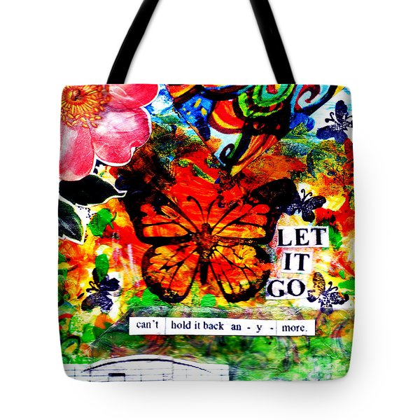 Tote Bag featuring the mixed media Let It Go by Genevieve Esson