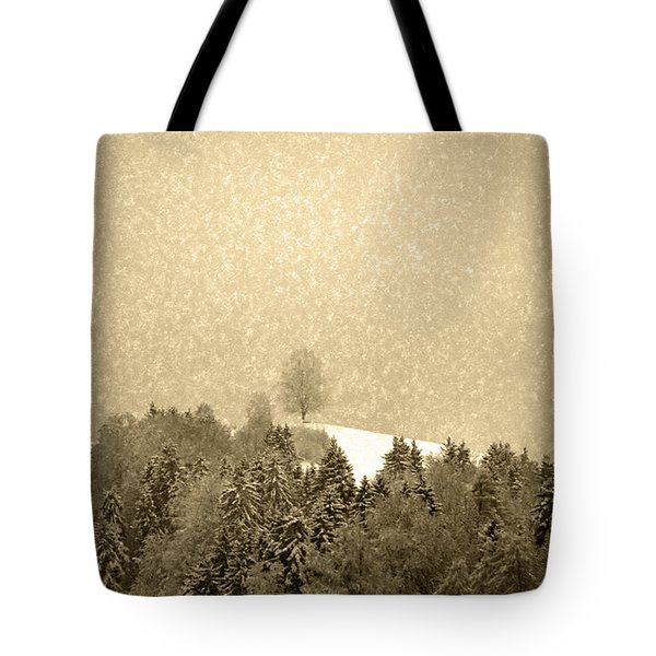 Tote Bag featuring the photograph Let It Snow - Winter In Switzerland by Susanne Van Hulst