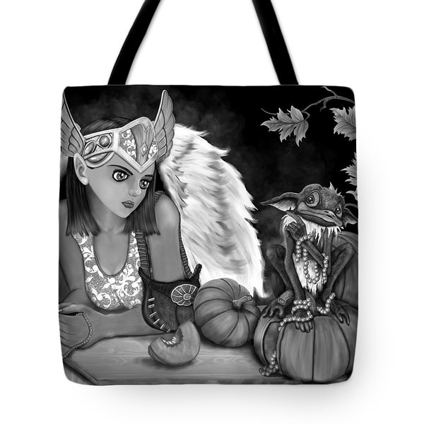 Let Me Explain - Black And White Fantasy Art Tote Bag