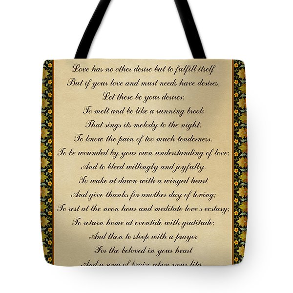 Let These Be Your Desires By Khalil Gibran Tote Bag