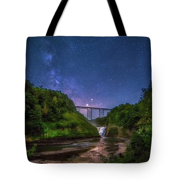 Letchworth At Night Tote Bag by Mark Papke
