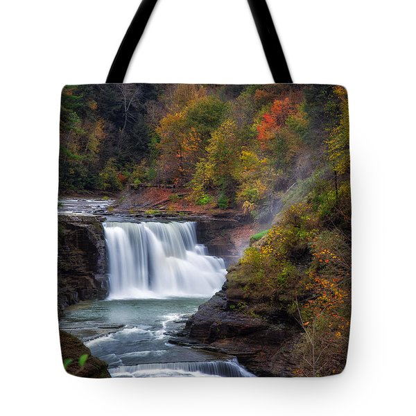 Letchworth Lower Falls 3 Tote Bag by Mark Papke