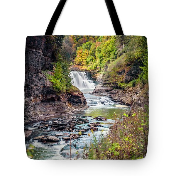 Letchworth Lower Falls In Autumn Tote Bag