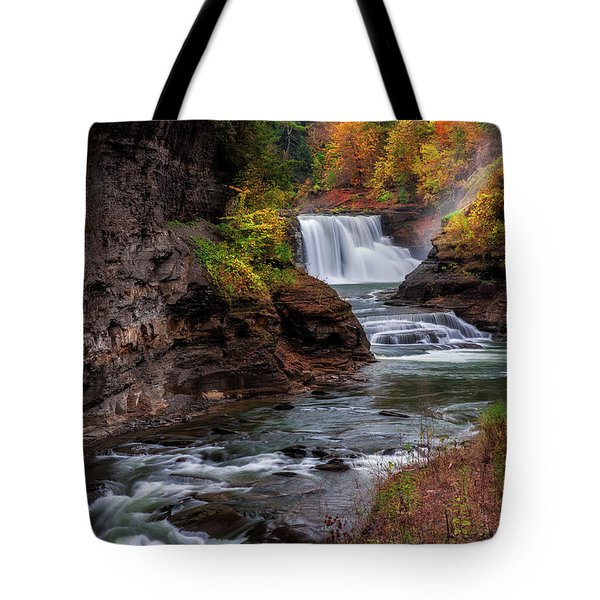 Letchworth State Park Lower Falls Tote Bag by Mark Papke