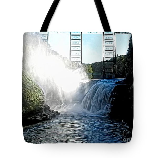 Letchworth State Park Upper Falls And Railroad Trestle Abstract Tote Bag