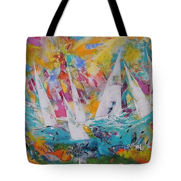 Tote Bag featuring the painting Lets Go Sailing by Lyn Olsen