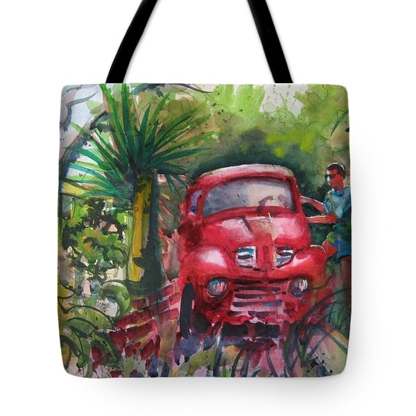 Let's Go Surfin', Red Tote Bag