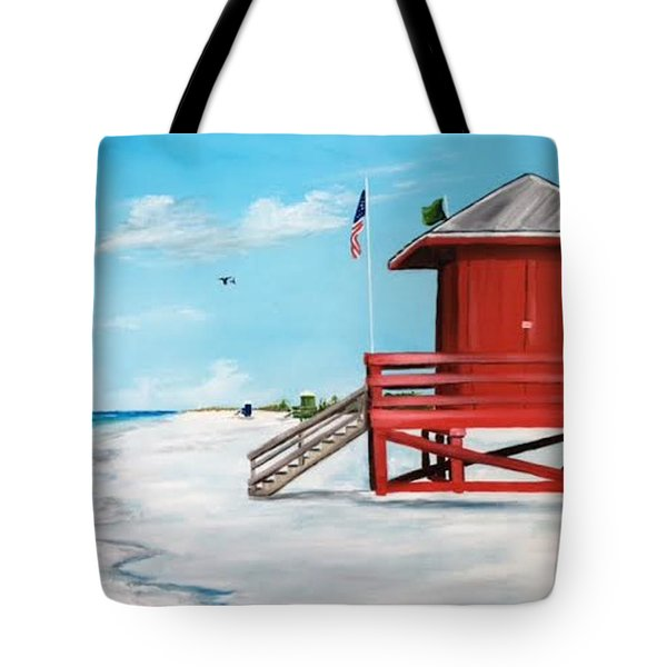 Let's Meet At The Red Lifeguard Shack Tote Bag