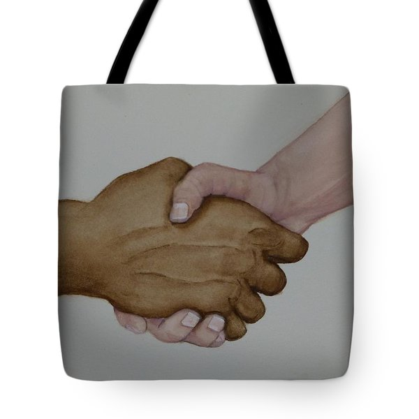 Let's Shake Hands On It Tote Bag by Kelly Mills