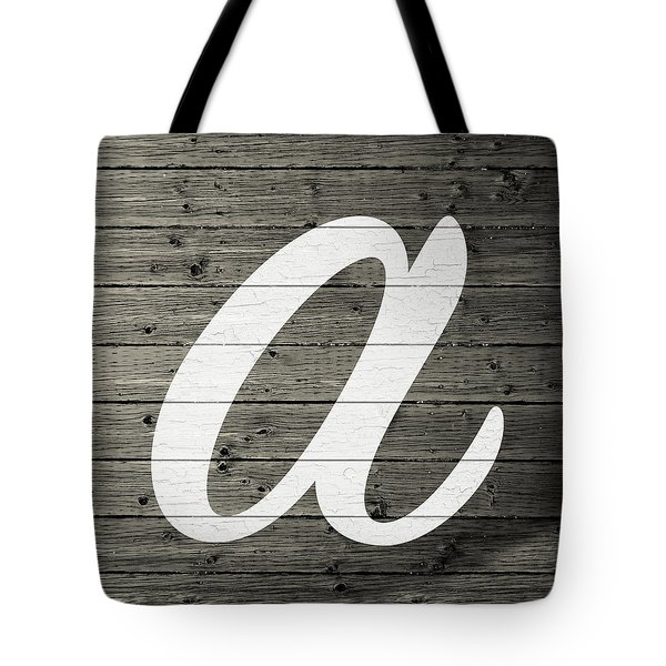 Letter A White Paint Peeling From Wood Planks Tote Bag
