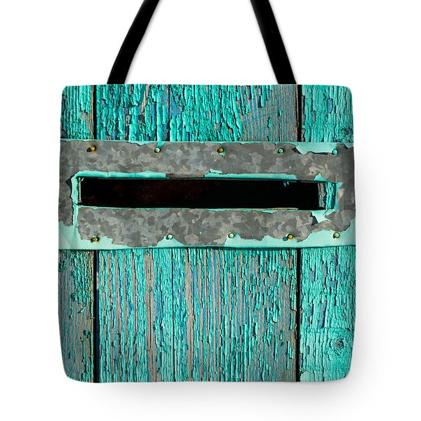 Letter Box On Blue Wood Tote Bag