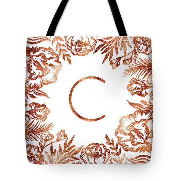 Letter C - Rose Gold Glitter Flowers Tote Bag