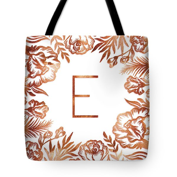 Letter E - Rose Gold Glitter Flowers Tote Bag