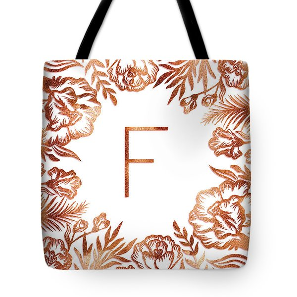 Letter F - Rose Gold Glitter Flowers Tote Bag