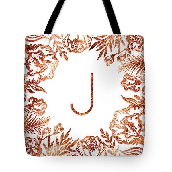 Letter J - Rose Gold Glitter Flowers Tote Bag