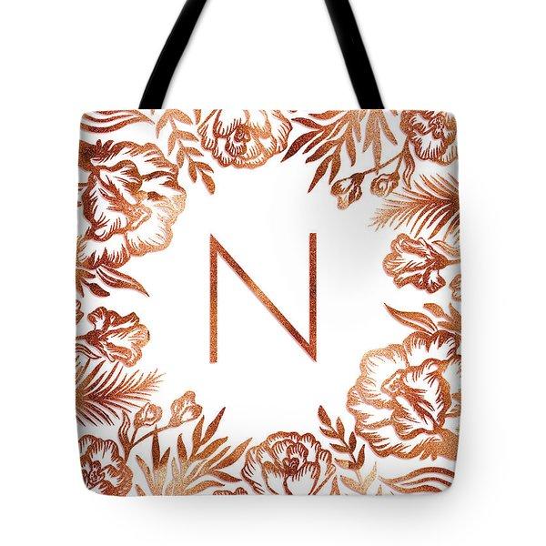 Letter N - Rose Gold Glitter Flowers Tote Bag