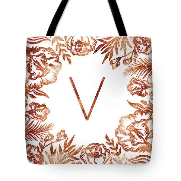 Letter V - Rose Gold Glitter Flowers Tote Bag