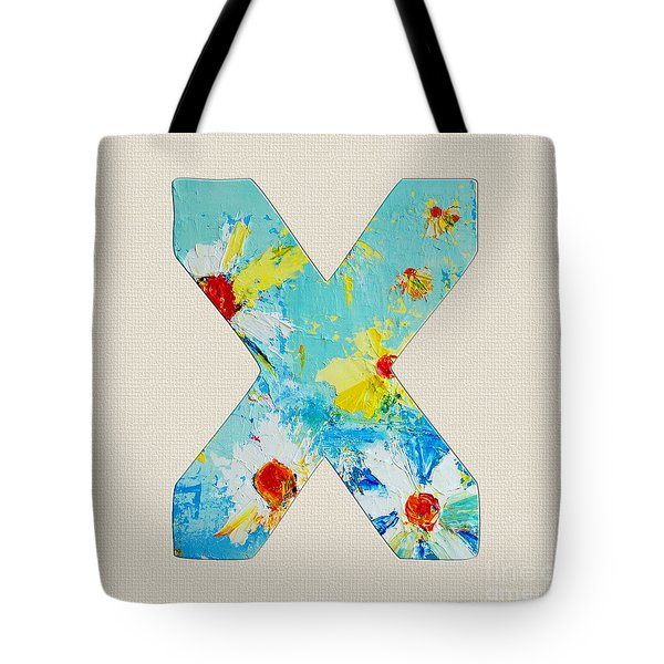 Letter X Roman Alphabet - A Floral Expression, Typography Art Tote Bag