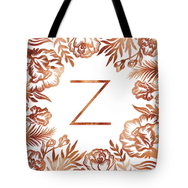 Letter Z - Faux Rose Gold Glitter Flowers Tote Bag