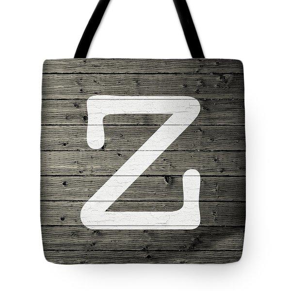 Letter Z White Paint Peeling From Wood Planks Tote Bag