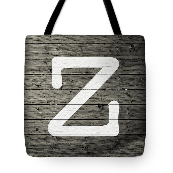 Letter Z White Paint Peeling From Wood Planks Tote Bag