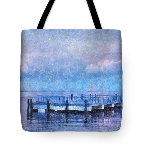 Tote Bag featuring the mixed media Lewes Pier by Trish Tritz